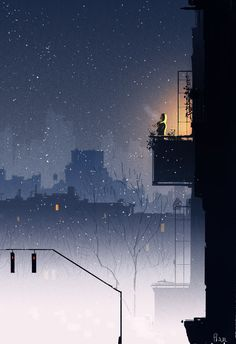 Pascal Campion is a Franco-American artist who uses his illustrations to tell the little joys that fill our days. Pascal Campion, Graphisches Design, Anime Scenery, Pixel Art, Nocturne, Fantasy Art, Cool Art, Concept Art, Anime Art