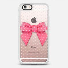 Pink Bow Dots - protective iPhone 6 phone case in Clear and Clear by Sara Eshak | @casetify