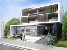 Retail and Apartment Building in Pylea Retail, Mansions, House Styles, Building, Outdoor Decor, Home Decor, Decoration Home, Room Decor, Buildings