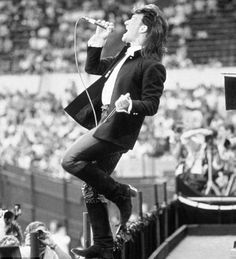 """Bono at the Live Aid during """"Bad"""" in 1985"""