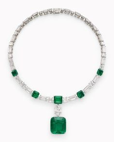 This Cartier necklace features Colombian emeralds and diamonds, with the detachable emerald pendant weighing almost 40 carats. It's expected to sell in the range of $2.5 million and $3.5 million at the Christie's in May 2016. The necklace was owned by Princess Gabriela who was married to His Highness Prince Karim Aga Khan IV, 49th Imam of the Ismaili community and international entrepreneur. During their 16-year marriage, the Princess held the title Begum Inaara Aga Khan.
