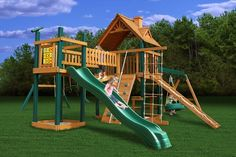 outdoor playsets with monkey bars plans | Pioneer Peak Wooden Swing Set | Large Outdoor Swing Set