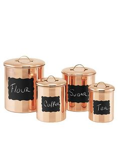 Old Dutch International Copper Chalkboard Canister Set with Fresh Seal Covers, Set of 4 & Reviews - Macy's Copper Canisters, Stainless Steel Canisters, Copper Tray, Copper Lamps, Kitchen Canisters, Copper Kitchen Accessories, Canister Sets, Pen Sets, Luxury Gifts