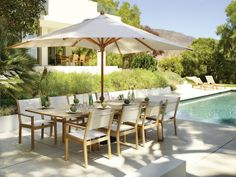 Shop the Gloster Solana Outdoor Furniture Collection for patio furniture sets combining teak frames and sling seats and backs, with practicality and comfort. Teak Dining Table, Outdoor Dining Furniture, Outdoor Living, Outdoor Decor, Patio Dining, Wicker Furniture, Dining Sets, Garden Furniture, Outdoor Life
