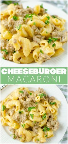 It doesn't get easier than One Pot Cheeseburger Mac! Cheesy, creamy pasta with ground beef all cooked in one pot. Think Hamburger Helper but better! Easy Pasta Recipes, Easy Dinner Recipes, Real Food Recipes, Yummy Recipes, Dinner Ideas, Yummy Food, Easy Weeknight Meals, Quick Easy Meals, Perfect Pasta Recipe