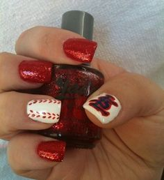 St. Louis Cardinals Nails - I might have to do my nails like this, just for you ;)