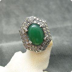 Vintage Sterling Ring Deco Marcasite Green