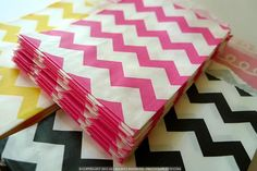 Small PINK Chevron Striped Pattern Kraft Paper Bags 2.75 x 4 - Packet of 20
