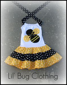Custom Boutique Clothing Black Yellow Bumble Bee Tiered Dress Birthday Girl Dots. $45.00, via Etsy.