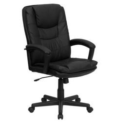 Traditional Executive/Managerial Chair Sturdy Office Furniture Black Leather New