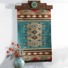 Zapotec turquoise runner from King Ranch Saddle Shop - Traditional Southwestern Color Southwestern Interior Doors, Southwest Home Decor, Southwestern Home, Southwestern Decorating, Southwest Style, Southwestern Jewelry, Southwest Bedroom, Southwest Rugs, Western Style
