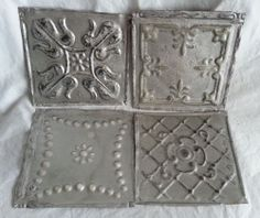 """4 6""""x 6""""  Antique Tin Ceiling Tiles *SEE OUR SALVAGE VIDEOS* AD5 Silver #RecycledRelicsCeilingTin"""