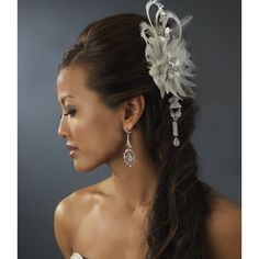 """Vintage Bridal Feather Hair Fascinator with Crystals Clip. 6"""" wide and 4"""" tall. Features both a clip for securing in the hair as well as a pin for wearing as a brooch. Buy now for $85.88. Free shipping - http://allbridaljewelry.com/vintage-bridal-feather-hair-fascinator-with-dangling-crystals-clip-8105-18118"""