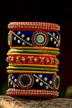 Multicolored Ethnic Decorated Single Hand Silk Threaded Bangle Set With Mirror Work (Size & Silk Thread Bangles Design, Silk Thread Necklace, Silk Bangles, Bridal Bangles, Thread Jewellery, Silver Bracelets, Silk Thread Jhumkas, Silver Jewelry, Anklet Designs