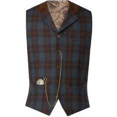 Gibson Blue Teal And Tan Check Waistcoat (6.175 RUB) ❤ liked on Polyvore featuring men's fashion, men's clothing, men's outerwear, men's vests, mens wool vest, mens waistcoat vest, mens blue vest and mens tan vest
