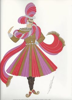 Erte' Print Art Deco Theatrical Costumes 2 sided by CMVintageArt