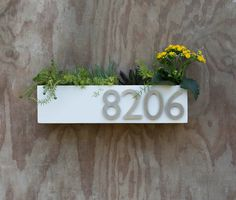 Modern White Succulent Wall Trough Planter & by UrbanMettle