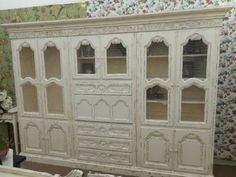 SOLD - Shabby chic drop front secretary with library center - 5 sections for easy moving. Painted creamy white and distressed. ***** In Booth H12 at Main Street Antique Mall 7260 E Main St (east of Power RD on MAIN STREET) Mesa Az 85207 **** Open 7 days a week 10:00AM-5:30PM **** Call for more information 480 924 1122 **** We Accept cash, debit, VISA, Mastercard, Discover or American Express