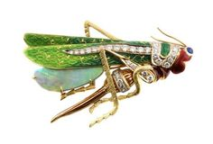 DIAMOND OPAL EMAMEL GRASSHOPPER