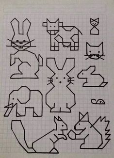 Cornicette animali // a good idea for teaching about skill directions Blackwork Patterns, Blackwork Embroidery, Cross Stitch Embroidery, Embroidery Patterns, Cross Stitch Patterns, Graph Paper Drawings, Graph Paper Art, Easy Drawings, Pixel Art