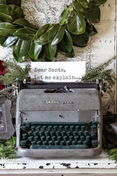 Bless'er House | French Industrial Christmas Vignette - Making a typewriter festive for the holidays