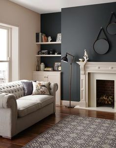 New Home Wallpaper Living Room Color Schemes 66 Ideas Living Room Color Schemes, Living Room Colors, New Living Room, Home And Living, Living Room Designs, Small Living, Living Area, Dark Grey Walls Living Room, Blue Walls