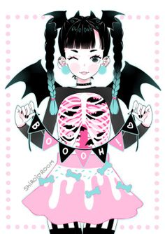 cute fashion Halloween black pink pastel goth original art shiroiroom