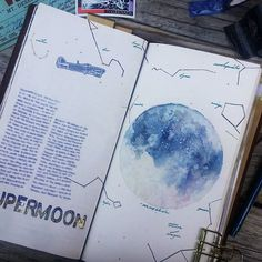 #whatsinmynotebook #tn #travelersnotebook #midoritravelersnotebook #midori #journaling #journal #artjournal #watercolor #penandink #art #painting #supermoon #moon #star #constellation #stationery #stationerylove #手帳 #文具控 #文房具