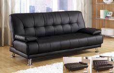 Contemporary Modern Leatherette Futon Sofa Bed,