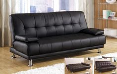 Contemporary Modern Leatherette Futon Sofa Bed,