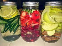 Fruit infused water in mason jars ♥