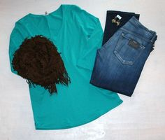 Monday Board Game Night Turquoise Three-Quarter Length Shirt by Lilla P $68  Slim Boyfriend Jean  by Citizens of Humanity $170 Chocolate Brown Infinity Scarf $34 Gold Earrings with Gold/Teal Cluster Beads  by iSobel $54