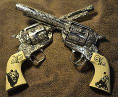 My Cowboy Action Shooting Guns- Single Action Colts, beautiful engraving SIG-Sauer Cowboy Action Shooting, Shooting Guns, Weapons Guns, Guns And Ammo, Rifles, Gun Art, Cool Guns, Awesome Guns, Custom Guns