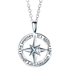 """Sterling silver open pendant with a compass design inside opening on a sterling silver chain. The wording on the outside rim of the pendant, """"It's about the journey"""", appears two times on the pendant. Regularly $39.99, buy Avon Jewelry online at http://eseagren.avonrepresentative.com"""