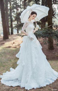 tiglily bridal 2016 illusion half sleeves bateau neck aline lace wedding dress (elisa) mv romantic princess