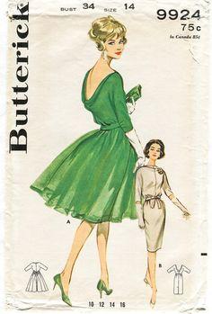 1960s vintage sewing pattern Mad Men evening cocktail dress wiggle dress or flounce skirt bust 34 b34 waist 26 w26 Butterick 9924