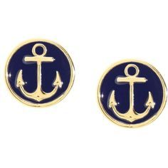 Brooks Brothers Anchor Earrings ($19) ❤ liked on Polyvore featuring jewelry, earrings, accessories, blue, brincos, navy, navy blue earrings, blue enamel earrings, blue jewelry and blue earrings