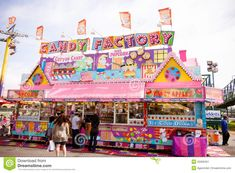 Candy stand at the fair editorial photo. Image of fair - 25309451 Fair Pictures, Sweet Factory, Candy Stand, Carnival Food, Food Stands, Happy Vibes, Amusement Park, The World's Greatest, Fine Art America