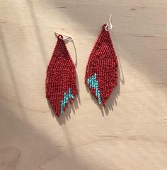 Hannah Pointes with Abstact Red and Turquoise Hand Beaded