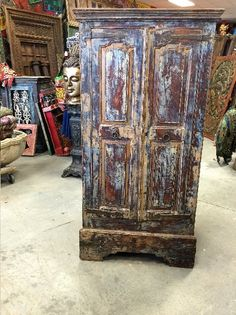 #Antique Furniture #Rustic Furniture http://www.houzz.com/photos/59791102/lid=44786387/Consigned-Warm-Distressed-Indian-Spanish-Almirah-From-Jodhpur-Antique-Cabinet-asian-armoires-and-wardrobes