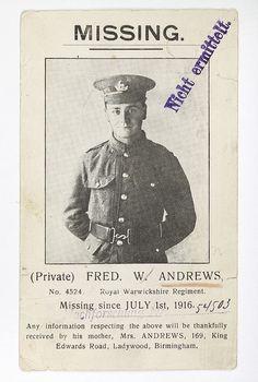 Postal enviada a Alemania de la madre de un soldado inglés muerto a los 21 años en 1916.