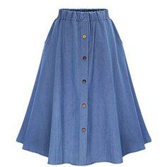 Blue Solid Color Button Up Elastic Waist Retro Midi Skirt