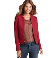 """Textured Open Front Jacket - Flaunting an irresistible texture and dose of stretch for the perfect fit, this open front style is a total wardrobe must have. Notch collar. Long sleeves. Open front. Side flap pockets. Button detailed cuffs. 21 1/4"""" long."""