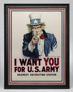 """""""I Want You for the U. Army"""" Vintage WWI Poster by James Montgomery Flagg, 1917 - Reality Worlds Tactical Gear Dark Art Relationship Goals Custom Posters, Vintage Posters, Vintage Graphic, I Want You, Things I Want, Fail Girl, Epic Fail Pictures, World War I, Best Friend Gifts"""