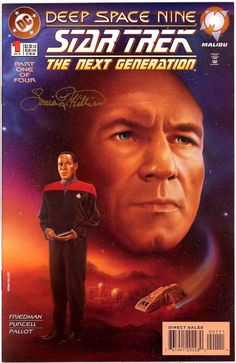 Chuck's Stuff has 2 of these Star Trek Deep Space Nine/Next Generation issue 1 of 4 part comic book mini-series for sale at $5 each. Picard & Sisko cover painting. SIGNED by artist Sonia R. Hillios. Signature guaranteed genuine, but no certificate. Near Mint. I have some of her original Star Trek paintings for sale on my Star Trek Paintings board, check it out. #startrek #comicbooks #soniahillios