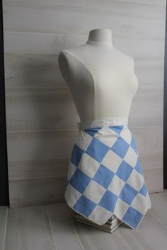 Vintage Blue and White Half Apron by theloftonbroome on Etsy