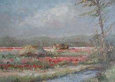 Hans de Jong (1938-) - Bollenvelden te Lisse