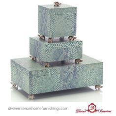 Looking for accessories? These are a set of three boxes, the perfect accessory for a dresser since they are elegant and whimsical.  http://divineinteriorshomefurnishings.com