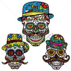 Day of the dead vector illustration set - Hipster Sugar Skulls