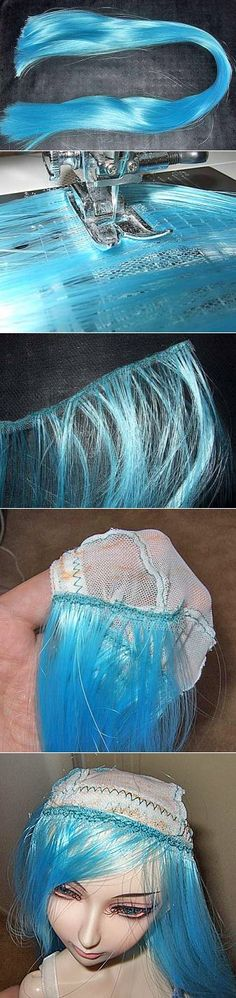 Peruca para a boneca feita de cabelo artificial